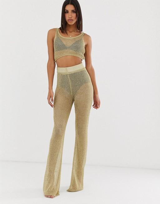 Pantalones de campana en dorado de Missguided (parte de un conjunto)