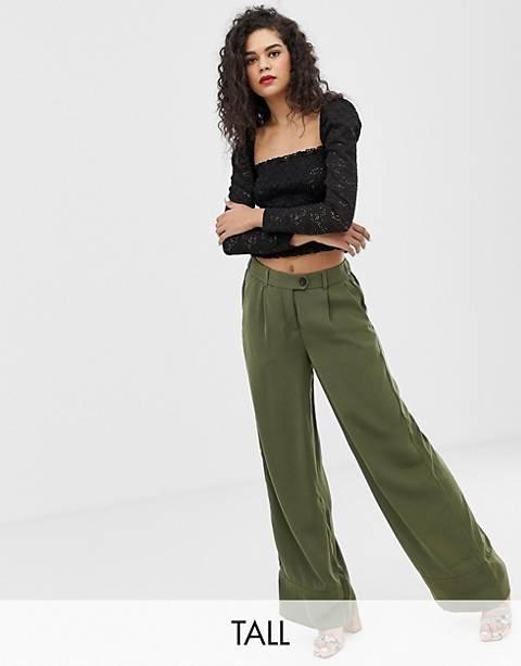 Pantalones de pernera ancha en verde de Vero Moda Tall