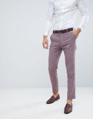Pantalones de traje ajustados con pespuntes en burdeos oscuro de ASOS DESIGN Wedding