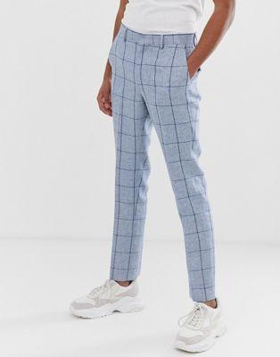 Imagen 1 de Pantalones de traje de boda ajustados de cuadros azules en mezcla de lino de ASOS DESIGN