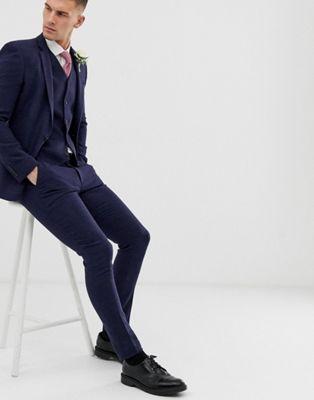 Pantalones de traje muy ajustados con estampado de cuadros pequeños en azul de ASOS DESIGN