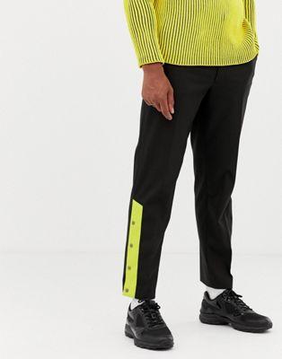 Pantalones de vestir de pernera recta con botones de presión de COLLUSION