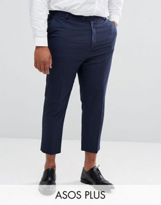 Imagen 1 de Pantalones de vestir tapered en azul marino de ASOS DESIGN Plus