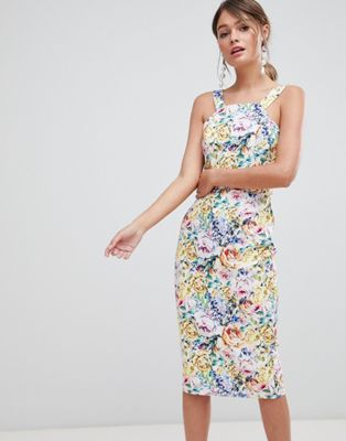 Image 1 of Paper Dolls Floral Printed Pinafore Pencil Dress