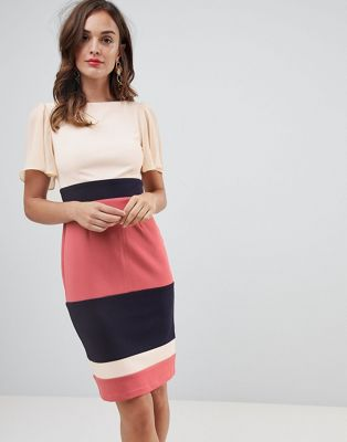 Paper Dolls flutter sleeve pencil dress with contrast stripe skirt in multi colour