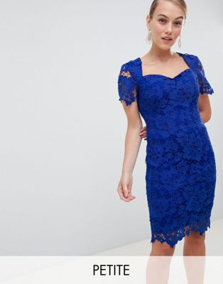 Paper Dolls Petite sweetheart crochet lace pencil dress in bright blue