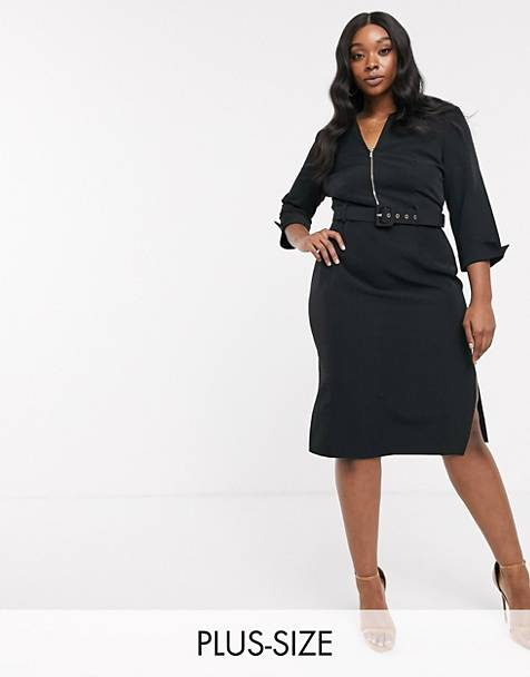 Paper Dolls Plus belted midi dress with roll sleeve and double split in black