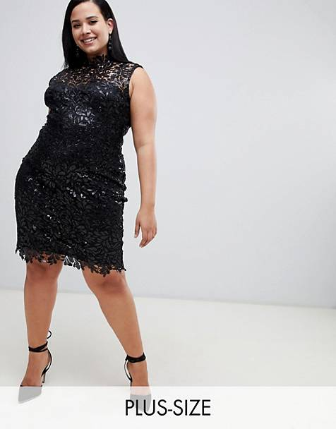 Paper Dolls Plus sequin lace midi pencil dress in black