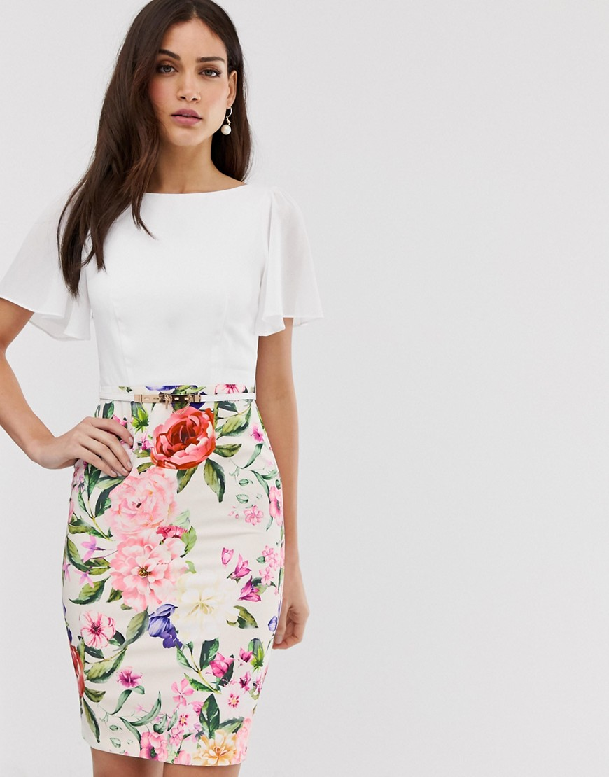 Paper Dolls short sleeve 2-in-1 floral print pencil midi dress-Multi – Paper Dolls online sale