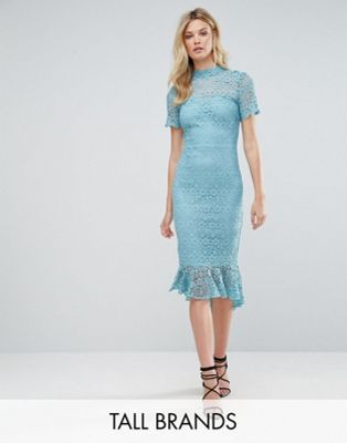 Paper Dolls Tall All Over Lace High Neck Pencil Dress With Frill Hem