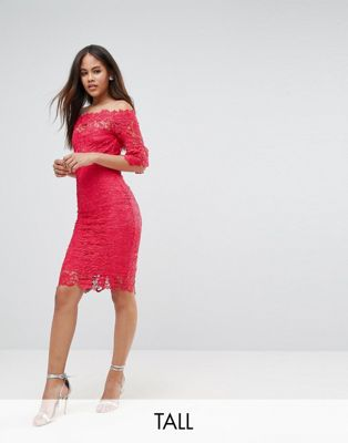 Paper Dolls Tall Bardot Allover Lace Pencil Dress