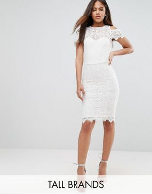 Paper Dolls Tall Cold Shoulder Frill Lace Pencil Dress