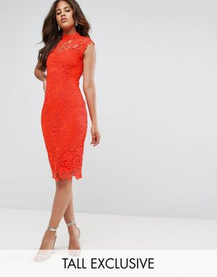 Paper Dolls Tall High Neck Crochet Lace Pencil Dress
