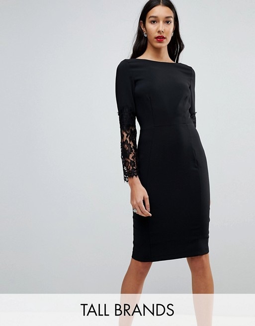 Image 1 of Paper Dolls Tall Lace Sleeve Pencil Dress