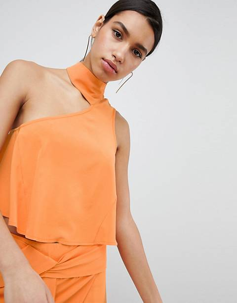 Parallel Lines Asymmetric Choker Crop Top Two-Piece