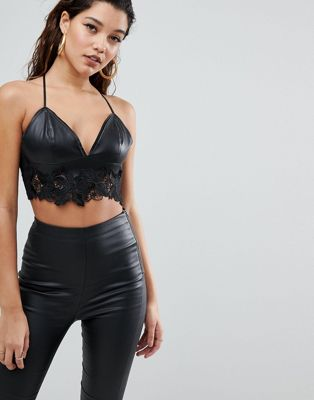 Parallel Lines Bralette In Faux Leather With Lace Trim