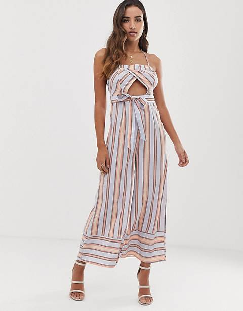 Parallel Lines cami jumpsuit with cut out detail in stripe