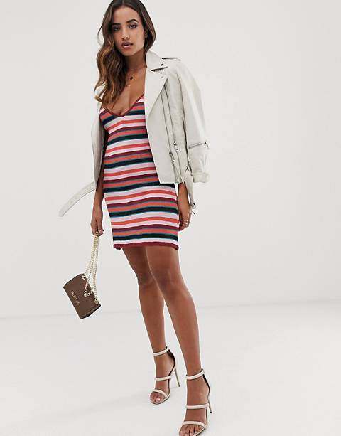 Parallel Lines knitted mini cami dress in stripe