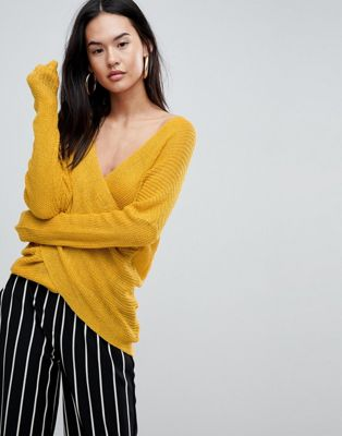 Parallel Lines Light Knit Jumper With Wrap Front