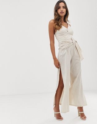 Parallel Lines linen jumpsuit with tie front in pinstripe