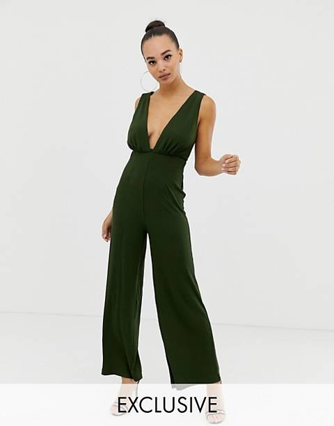 Parallel Lines plunge front jumpsuit with strappy back in rib