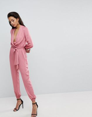 Parallel Lines Silky Jumpsuit With Tie Waist Detail