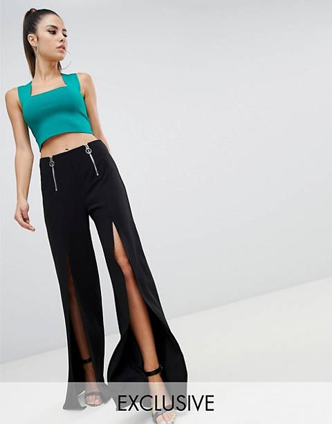 Parallel Lines split front wide leg pants with zip detail