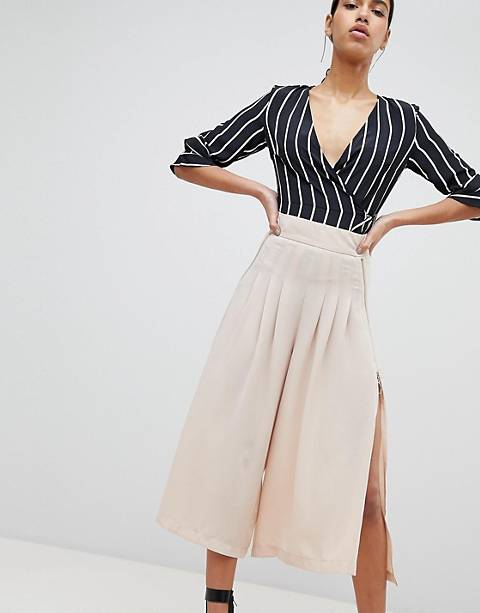 Parallel Lines Wide Leg Pleated Pants With Zip Detail