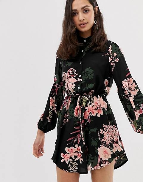 Parisian collarless shirt dress in floral print