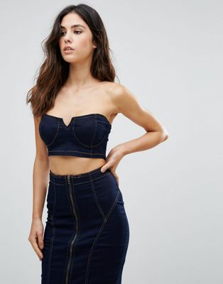 Image 1 of Parisian Denim Bralette Top