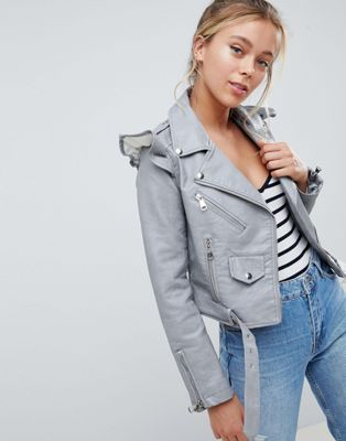 Parisian Faux Leather Jacket With Frill Detail