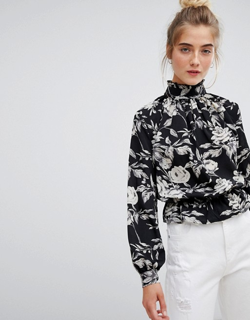 Image 1 of Parisian high neck floral blouse