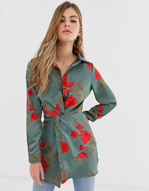 Parisian knot front shirt dress in floral print