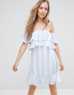 Image 1 of Parisian Off Shoulder Stripe Dress