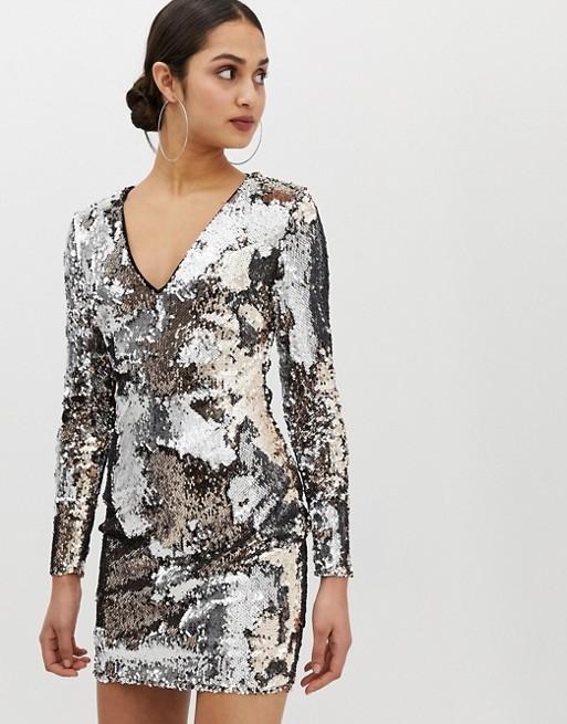 Parisian – Paillettenbesetztes Kleid mit V-Ausschnitt