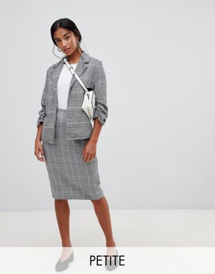 Parisian Petite check pencil midi skirt