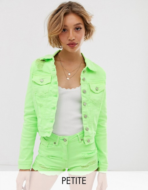 Image 1 of Parisian Petite denim jacket in neon green