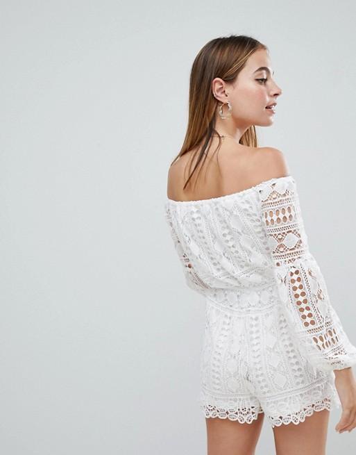 c57ba276dec Parisian Petite Off Shoulder Crochet Playsuit