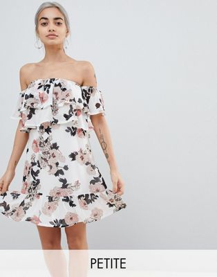 Image 1 of Parisian Petite Off Shoulder Ruffle Mini Dress In Floral Print