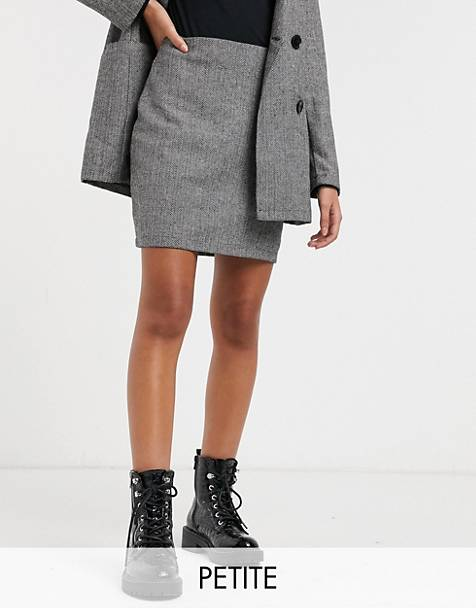 Parisian Petite tailored a line mini skirt in gray