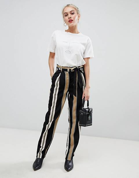 Parisian stripe wide leg pants