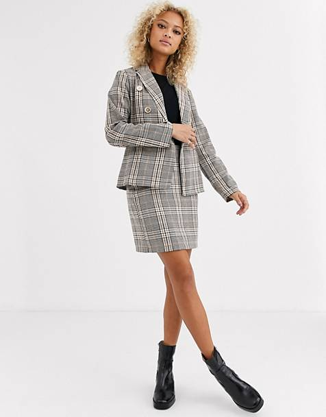 Parisian tailored a line mini skirt in check