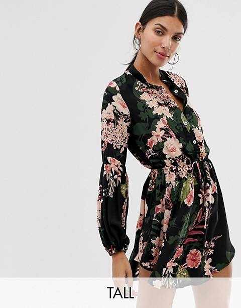 Parisian Tall collarless shirt dress in floral print