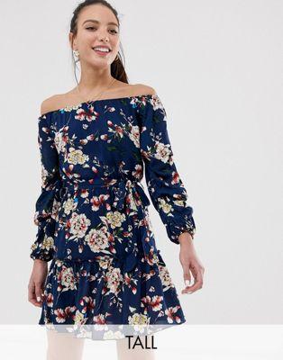Parisian Tall off shoulder skater dress in navy floral
