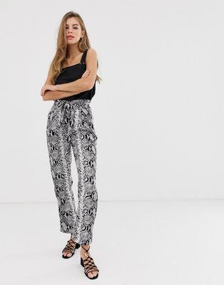 Parisian wide leg pants with tie belt in snake print