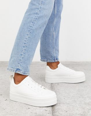 Park Lane Flatform Lace Up Trainers In White by Asos