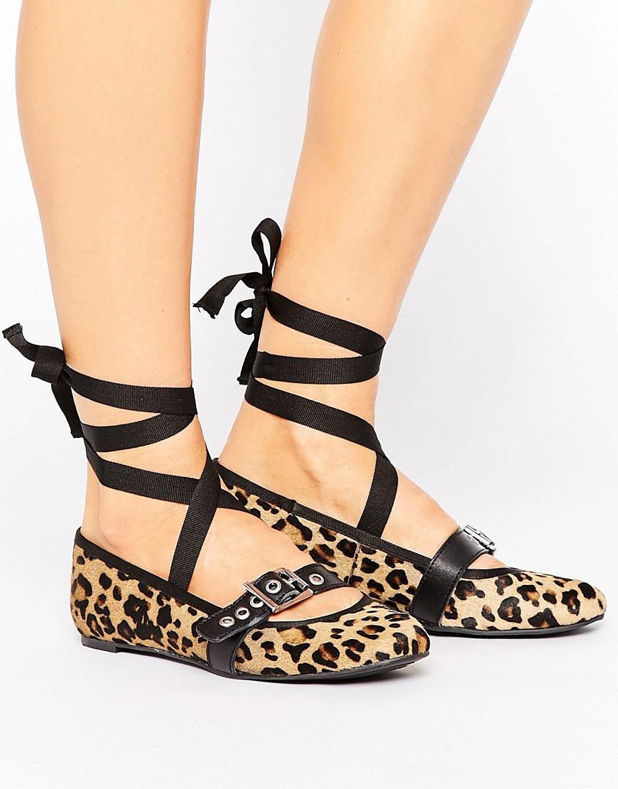 Park Lane Leopard Leather Strap Ballerina-Brown