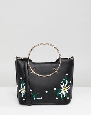 Park Lane – Väska med handtag och broderade blommor