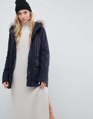 Parka London Alana Faux Fur Trim Parka Coat