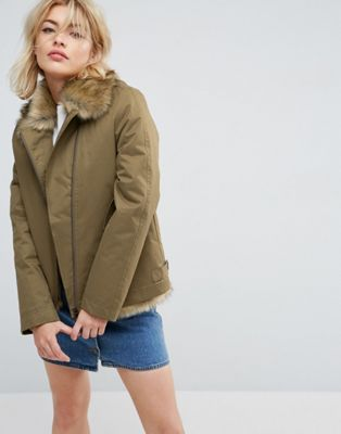Parka London Aya Faux Fur Lined Lightweight Jacket